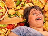 Woman  with fastfood — Stock Photo