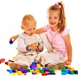 Children play building blocks. — Stock Photo #49736783