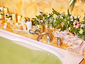 Bathroom interior with bubble bath. — Stock Photo