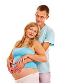 Pregnant woman with family . — Stock Photo
