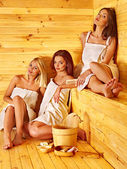 Women relaxing in sauna. — Stock Photo