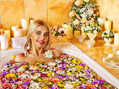 Woman relaxing at spa water — Stock Photo