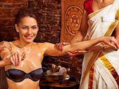 Woman having ayurveda spa treatment. — Stock Photo