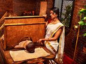Woman in Ayurveda sauna. — Stock Photo