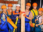 Group people in builder uniform — Stock Photo