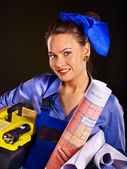 Builder woman — Stock Photo