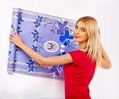 Woman glues wallpaper . — Stock Photo