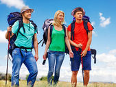 People with backpacks — Stock Photo