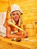 Woman in sauna. — Stock Photo