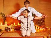 Stretching massage to woman. — Stock Photo