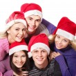 Group young in santa hat . — Stock Photo #6410123