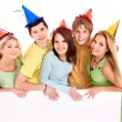 Group of young in party hat. — Stock Photo #6410155