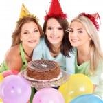 Group holding cake. — Stock Photo #6410170