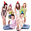 Group of teenager in party hat. — Stock Photo #6724797