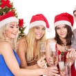 Group young in santa hat. — Stock Photo #6724981