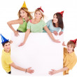 Group of young in party hat. — Stock Photo #6725086