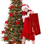 Girl in santa hat holding shopping bag, — Stock Photo #6725297