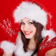Christmas girl in red santa hat. — Stock Photo #6725338