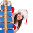 Christmas girl in santa hat with blue gift box group. — Stock Photo #6725347