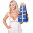 Girl with stack gift box. — Stock Photo #6726317