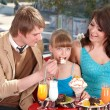 Family with child in cafe. — Stock Photo #7111335