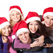 Group young in santa hat . — Stock Photo #7610069