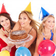 Group holding cake. — Stock Photo #7610161
