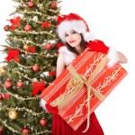 Christmas girl in santa holding gift box. — Stock Photo #7610204