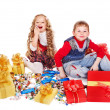 Kids with gift box and sweet. — Stock Photo #7893435