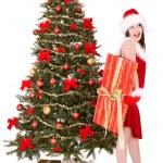Christmas girl in santa holding gift box. — Stock Photo #7893547