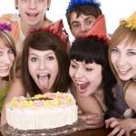 Group of teenagers celebrate happy birthday. — Stock Photo #8639842