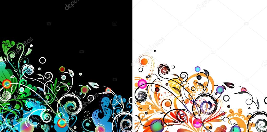 Abstract floral arrangement in color on white and black background options — Stock Vector #12566748