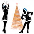 Silhouettes of the Snow girls at Christmas tree — Stock Vector #14086864