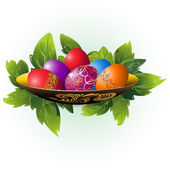 Easter eggs on a plate — Stock Vector