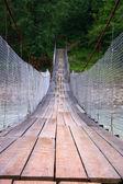 Suspensión puente sobre el río de la montaña — Foto de Stock