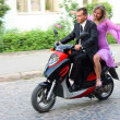 Love couple on scooter — Stock Photo #12526708