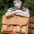 Mim and briefcase — Stock Photo