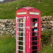 Old BT phone box in Lake District being renovated - Foto de Stock