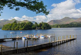 Boats on Derwent Water in Lake District — Stok fotoğraf