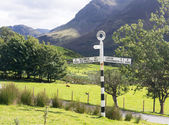 Buttermere sign in english lake district — ストック写真