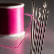 Row of embroidery sewing needles — Stock Photo