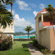 Philipsburg St Martin seen between buildings - Stock Photo