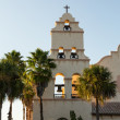 Spanish mission style church tower sunset — Stock Photo #15356889