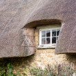 Small wooden window under thatched roof — Stock Photo