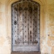Ancient oak wooden door in stone surround — Stock Photo #15357071