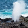Stock Photo: Blowhole at Suarez Point on Galapagos