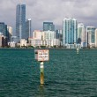 View of Miami Skyline with Manatee sign — 图库照片