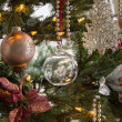 Glass globe on christmas tree detail — Stock Photo #17890003