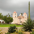 Cloudy stormy day at Santa Barbara Mission — Stock fotografie