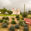 Cloudy stormy day at Santa Barbara Mission - Zdjęcie stockowe